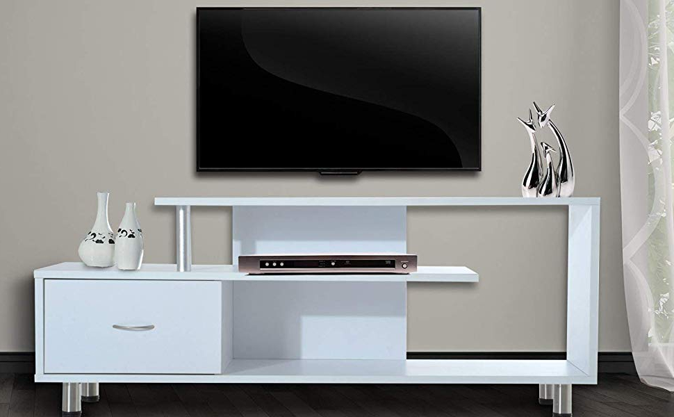 "Famous Single Shelf Tv Stands With Regard To Amazon: Homcom 60"" Media Center Flat Screen Tv Stand With Single (View 4 of 20)"