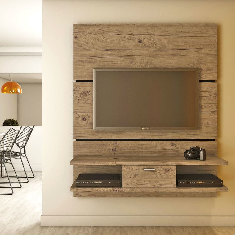 Famous Single Tv Stands With Regard To Simple Natural Polished Teak Wood Wall Board For Tv Stand Having Two (View 6 of 20)