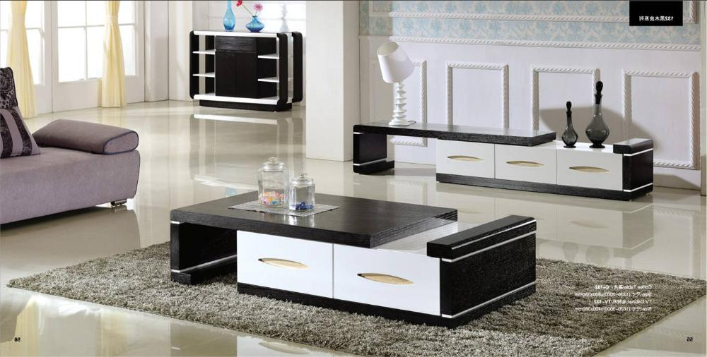 Famous Tv Cabinets And Coffee Table Sets Intended For Modern Balck Wood Furniture Tea Coffee Table Tv Cabinet Set, Smart (View 5 of 20)