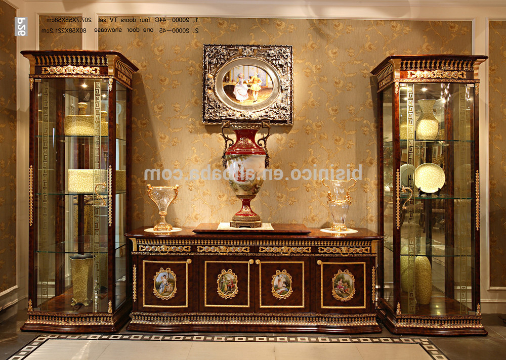 Famous Tv Display Cabinets For Luxury French Baroque Style Mahogany Single Door Display Cabinet (View 2 of 20)