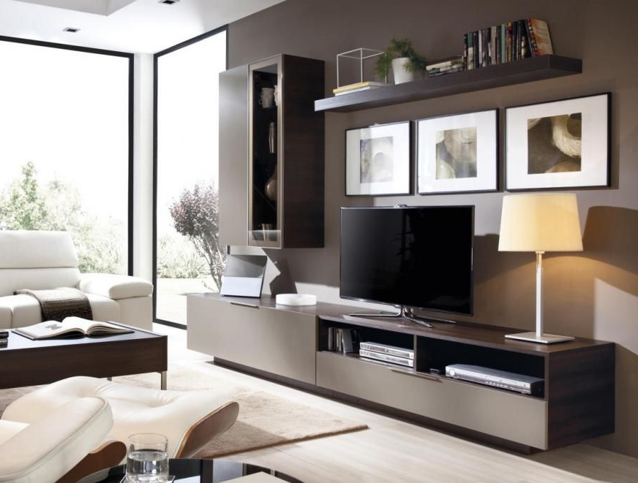 Famous Tv Display Cabinets Intended For Modern Wall Storage System With Sideboard, Glass Display Cabinet And (View 3 of 20)