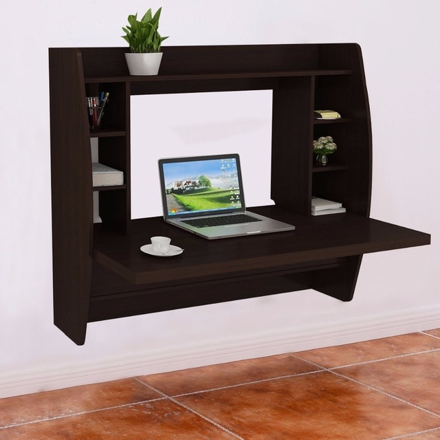 Famous Tv Stands And Computer Desks Within Goplus Living Room Wall Mount Floating Cabinet Modern Computer Desk (View 10 of 20)