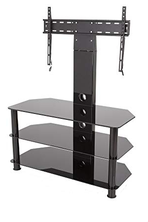 Famous Upright Tv Stands In King Upright Cantilever Tv Stand With Bracket Black: Amazon.co (View 4 of 20)