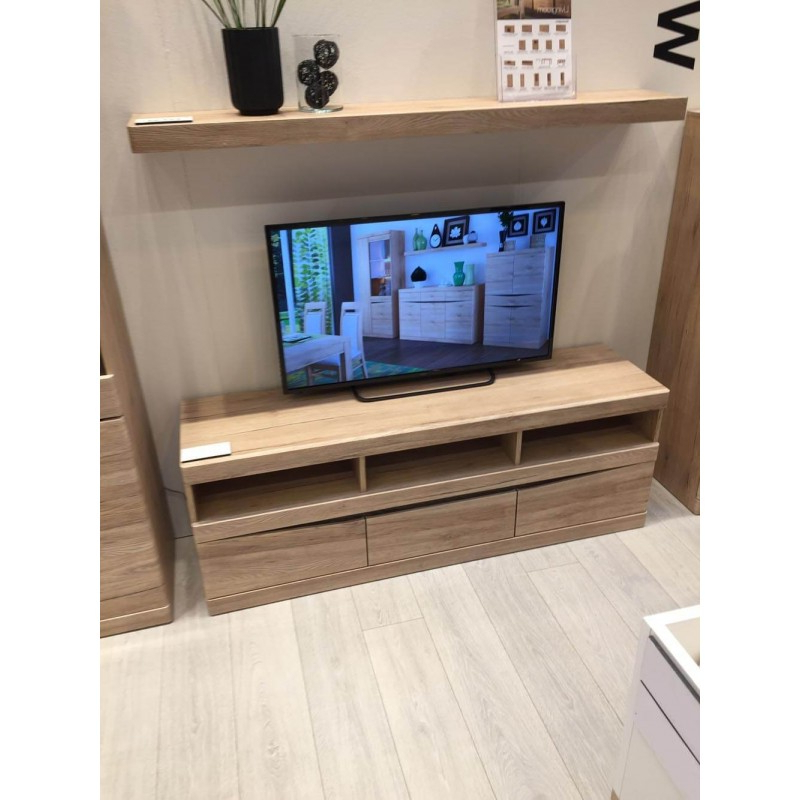 Famous Wide Oak Tv Units Within Kensington Wide 3 Drawer Tv Unit In Oak (View 7 of 20)