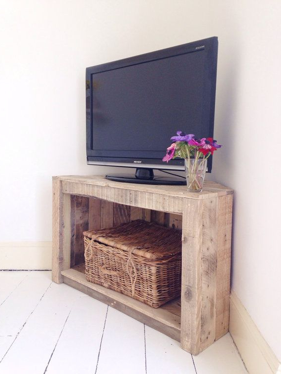 Famous Wood Tv Armoire Stands Pertaining To Handmade Rustic Corner Table/tv Stand (View 6 of 20)