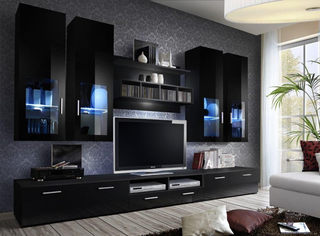Fashionable Black Gloss Tv Wall Unit In Wall Units: Inspiring Tv Wall Units For Sale Tv Wall Unit Ikea, Tv (View 9 of 20)