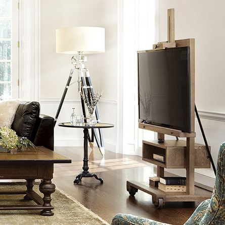 Fashionable Catlin Easel Media Stand In Weathered (View 16 of 20)