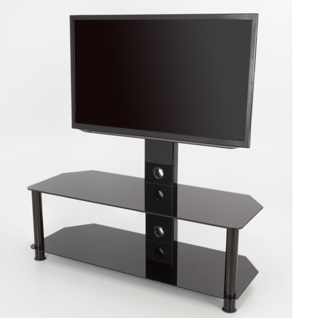 Fashionable Cheap Cantilever Tv Stands Within King Upright Cantilever Tv Stand With Bracket Black Glass Shelves (View 12 of 20)