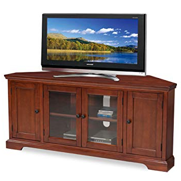 Fashionable Corner Tv Stands For 60 Inch Flat Screens Intended For Amazon: Leick Westwood Corner Tv Stand, 60 Inch, Cherry Hardwood (View 3 of 20)
