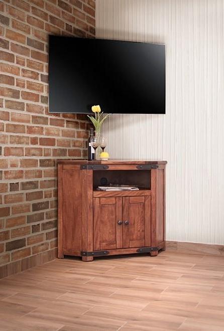 Fashionable Cornet Tv Stands In International Furniture Direct Parota Ifd866corn 2 Door Corner Tv (View 5 of 20)