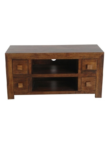 Fashionable Dark Mango Wood Media Unit / Tv Stand With 4 Drawers In Mango Wood Tv Cabinets (View 2 of 20)