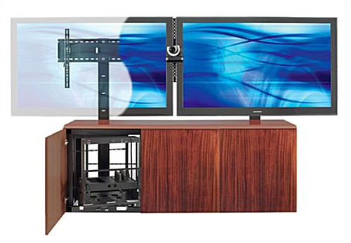 Fashionable Dual Tv Stands Throughout Contemporary Dual Mount Tv Stand W/ Mahogany Veneer Storage Area (View 2 of 20)
