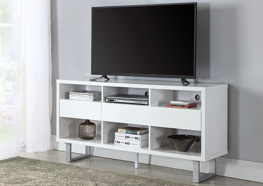 Fashionable Glossy White Tv Stands For D&n Furniture – Scranton, Pa High Glossy White Tv Stand (View 9 of 20)