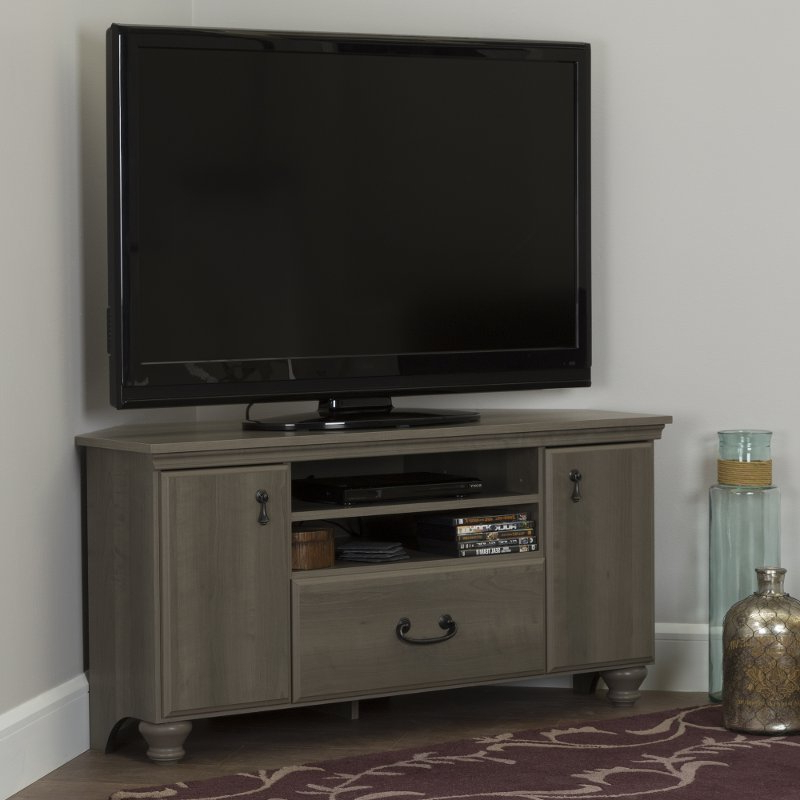 Fashionable Gray Maple Corner Tv Stand For Tvs Up To 55 Inch – Noble (View 13 of 20)