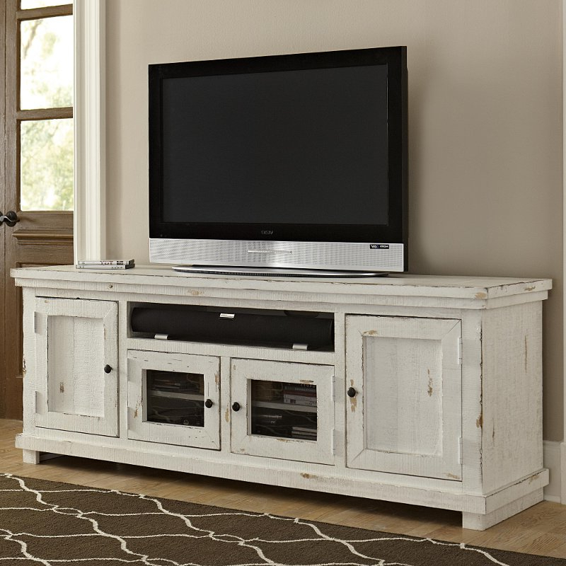 Fashionable Long White Tv Stands For 74 Inch Distressed White Tv Stand – Willow (View 7 of 20)