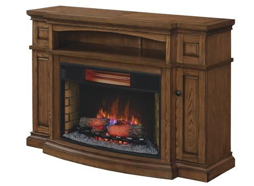 Fashionable Midway Electric Fireplace In Premium Oak At Menards®: Midway Tv Within Sinclair White 54 Inch Tv Stands (View 19 of 20)