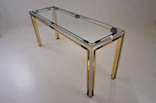 Fashionable Mix Patina Metal Frame Console Tables For Romeo Rega Console Table, 160 Cm, Brass & Chrome, 1970`s Italian In (View 5 of 20)