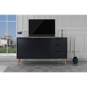 Fashionable Modern Wooden Tv Stands For Amazon: Modern Wooden Tv Stand, Cabinet With Drawers (Dark Grey (View 6 of 20)