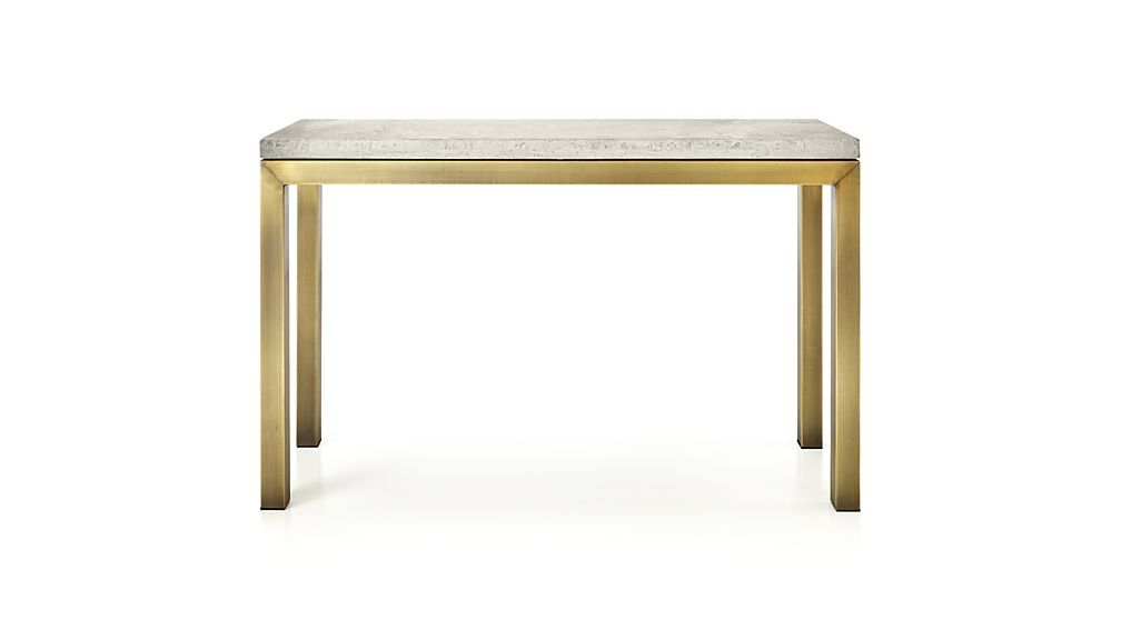 Fashionable Parsons Travertine Top/ Brass Base 48x16 Console (View 2 of 20)