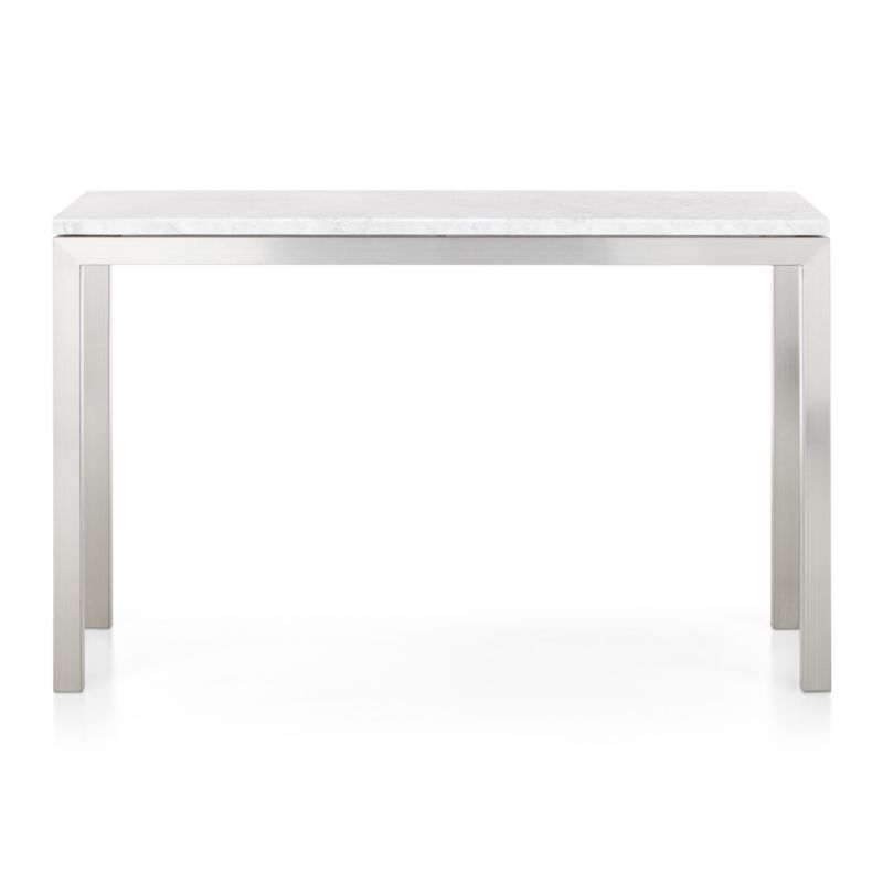 Fashionable Parsons White Marble Top/ Stainless Steel Base 48X16 Console With Regard To Parsons Clear Glass Top & Stainless Steel Base 48X16 Console Tables (View 6 of 20)