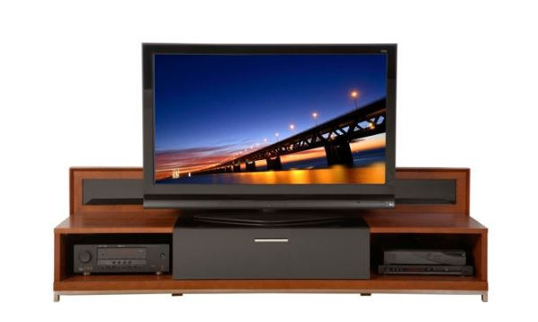 "Fashionable Plateau Valencia Veneer Wood 79"" Tv Stand, Black Oak/walnut Finish Inside Valencia 70 Inch Tv Stands (View 3 of 20)"