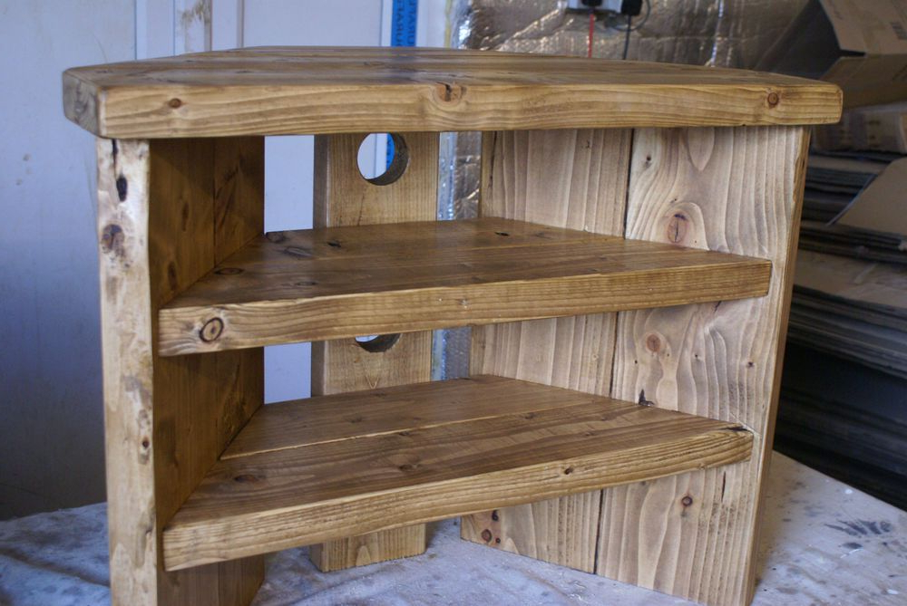 Fashionable Rustic Corner Tv Stands Intended For Rustic Corner Tv Stand Solid Wood Unit Cabinet Plank Sleeper Oiled (View 5 of 20)
