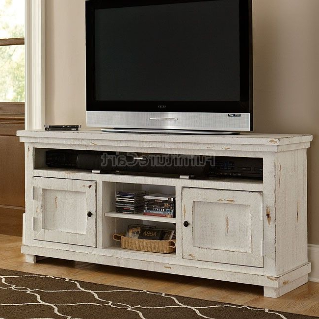 Fashionable Sinclair White 54 Inch Tv Stands Pertaining To Willow 64 Inch Entertainment Console (distressed White) In (View 18 of 20)
