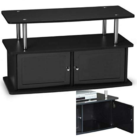 Fashionable Small Black Tv Cabinets Within Amazon: Multi Media Tv Stand With Cabinets And Shelf Black (View 4 of 20)