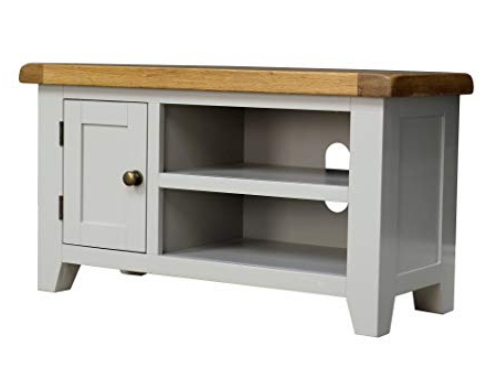 Fashionable Small Tv Stands Throughout Arklow Painted Oak Dovetail Grey Small Tv Stand/oak Tv Cabinet (View 6 of 20)