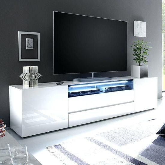 Fashionable Small White Tv Cabinets Intended For Small White Tv Stand Hit 2 Modern Stand Led Cabinet Unit High Gloss (View 4 of 20)