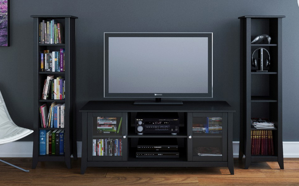 Fashionable Sustainable Ecofriendly Contemporary Tv Stand With 2 Bookcases – Eco For Tv Stands With Bookcases (View 7 of 20)