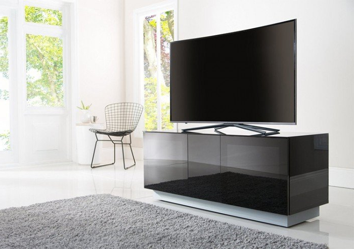 Fashionable Tv Cabinets Intended For Alphason Element Emt1250Xl High Gloss Black Tv Cabinet 520Mm Tall (View 3 of 20)