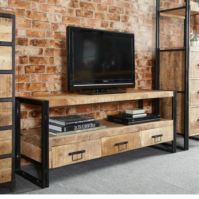 Fashionable Vintage Industrial Tv Stand Entertainment Centre Storage Drawers Inside Tv Stands With Drawers And Shelves (View 5 of 20)