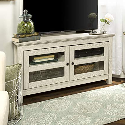 Fashionable White Wood Corner Tv Stands Intended For Amazon: New 44 Inch Wide White Wash Finished Corner Television (View 2 of 20)