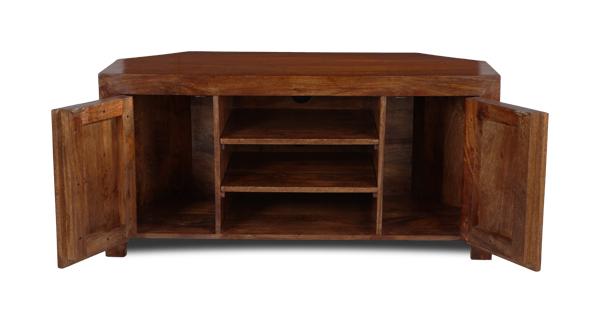 Fashionable Wooden Corner Tv Units Within Dakota Dark Mango Wood Corner Tv Unit (45N)  (View 5 of 20)