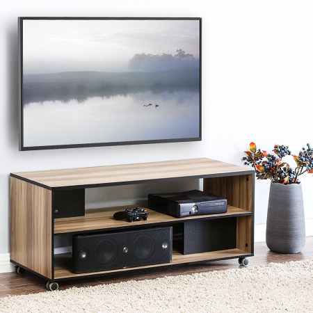 Fashionable Wooden Tv Stands For 50 Inch Tv Intended For Fitueyes Wood Tv Stand Storage Console With Wheels For 23 To 50 Inch (View 4 of 20)