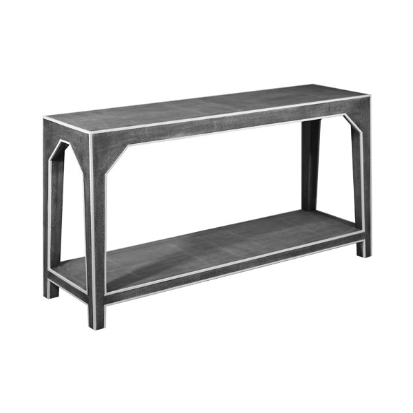 Faux Shagreen Console Tables Within Most Recently Released Kip Two Tier Faux Dark Grey Shagreen Console Table With White Resin (View 9 of 20)