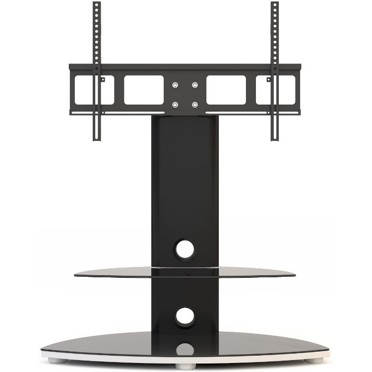 Favorite Alphason Osmb800/2 S Swivel Bracketed Tv Stand, Floating Glass Shelf Throughout Silver Tv Stands (View 5 of 20)
