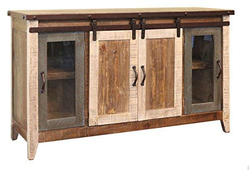 """Favorite Amazon: Madeline Antique Multi Color 60"""" Rustic Sliding Barn Intended For Rustic Tv Stands For Sale (View 6 of 20)"""