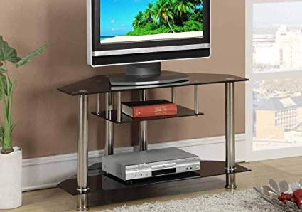 Favorite Amazon: Poundex Pdex F4294 Shiny Metal Glass Triangular In Shiny Tv Stands (View 5 of 20)