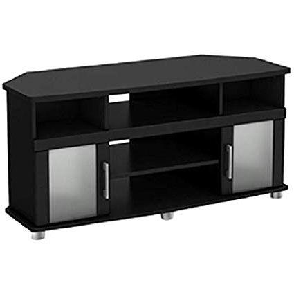 Favorite Black Corner Tv Cabinets With Glass Doors With Regard To Amazon: Chooseandbuy Black Corner Tv Stand With Frosted Glass (View 15 of 20)