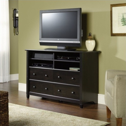 "Favorite Black Tv Stands With Drawers Intended For Sauder Edge Water 45"" Highboy Tv Stand In Estate Black : Tv Stands (View 12 of 20)"