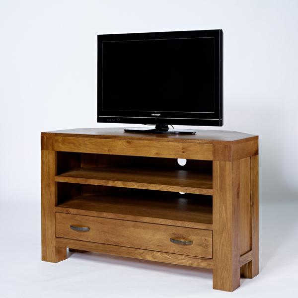 Favorite Dark Wood Corner Tv Stands In Dark Oak Corner Tv Unit – Rustic Santana Oak (View 13 of 20)