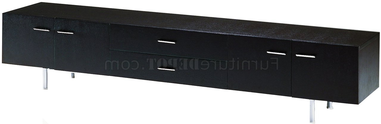 Favorite Ebony Finish Modern Long Tv Stand W/doors & Drawers Pertaining To Long Tv Stands (View 14 of 20)