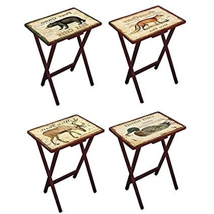 Favorite Folding Tv Trays With Stand Regarding Amazon: Cape Craftsmen Lodge Postcards Wooden Folding Tv Tray (View 4 of 20)