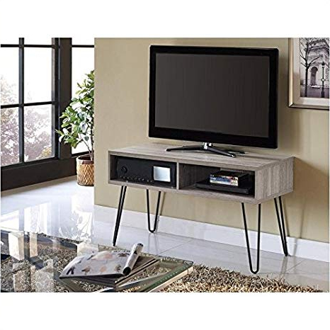 Favorite Gunmetal Media Console Tables With Regard To Amazon: Pemberly Row Retro 42 Inch Tv Stand In Sonoma Oak And (View 6 of 20)
