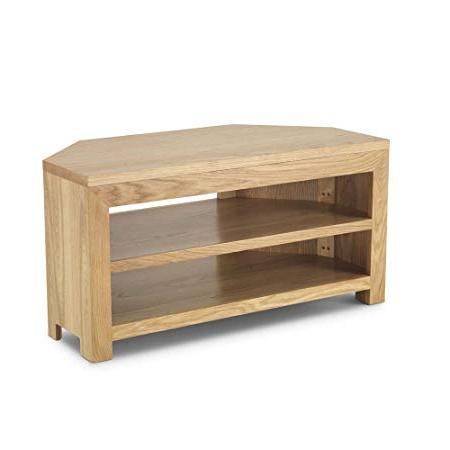 Favorite Havana Solid Wood Chunky Oak Open Corner Widescreen Tv Lcd Plasma Inside Light Oak Tv Corner Units (View 6 of 20)