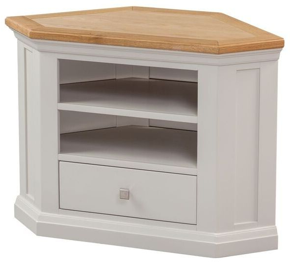 Favorite Homestyle Cotswold Painted And Oak Corner Tv Cabinet – Tv Cabinets In Painted Corner Tv Cabinets (View 6 of 20)