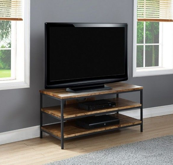 """Favorite Jual Furnishings Solid Wood 3 Shelf Tv Stand Up To 42"""" Tvs For Open Shelf Tv Stands (View 2 of 20)"""
