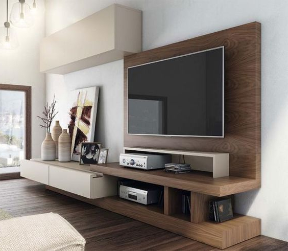 Favorite Modern Tv Cabinets Designs Pertaining To Contemporary And Stylish Tv Unit And Wall Cabinet Composition In (View 4 of 20)
